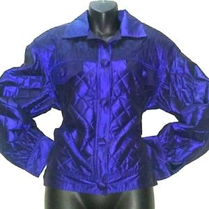 '80s VINTAGE ADOLFO 'ALL SILK' Quilted Jacket